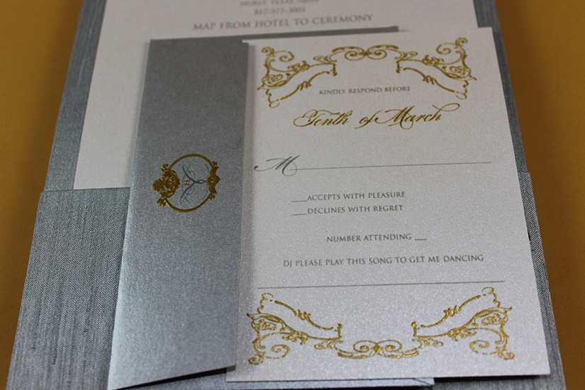 gold and platinum wedding folio invites silk wedding invitations chic invitations thermography print